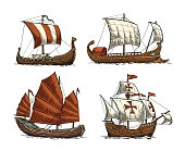 Trireme, caravel, drakkar, junk. Set sailing ships floating sea waves.