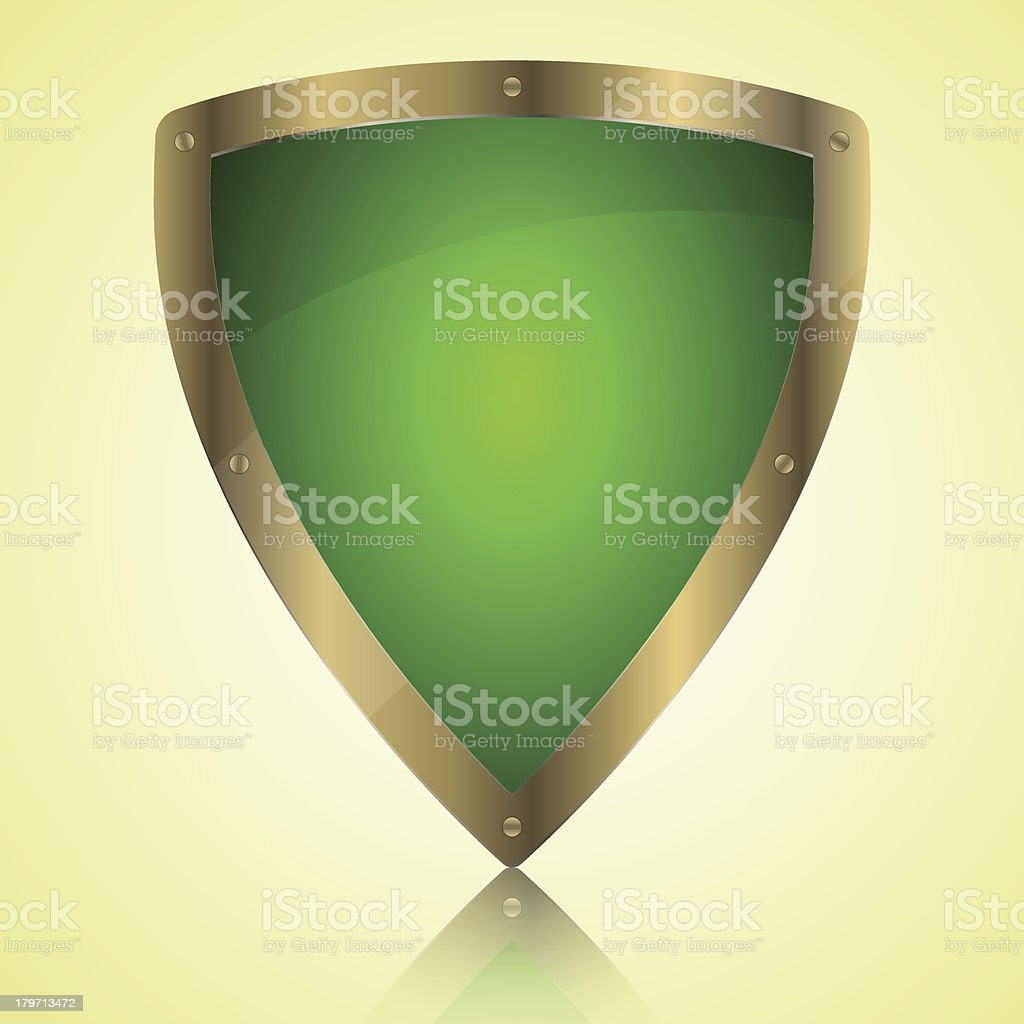 Triumph green shield symbol icon royalty-free stock vector art