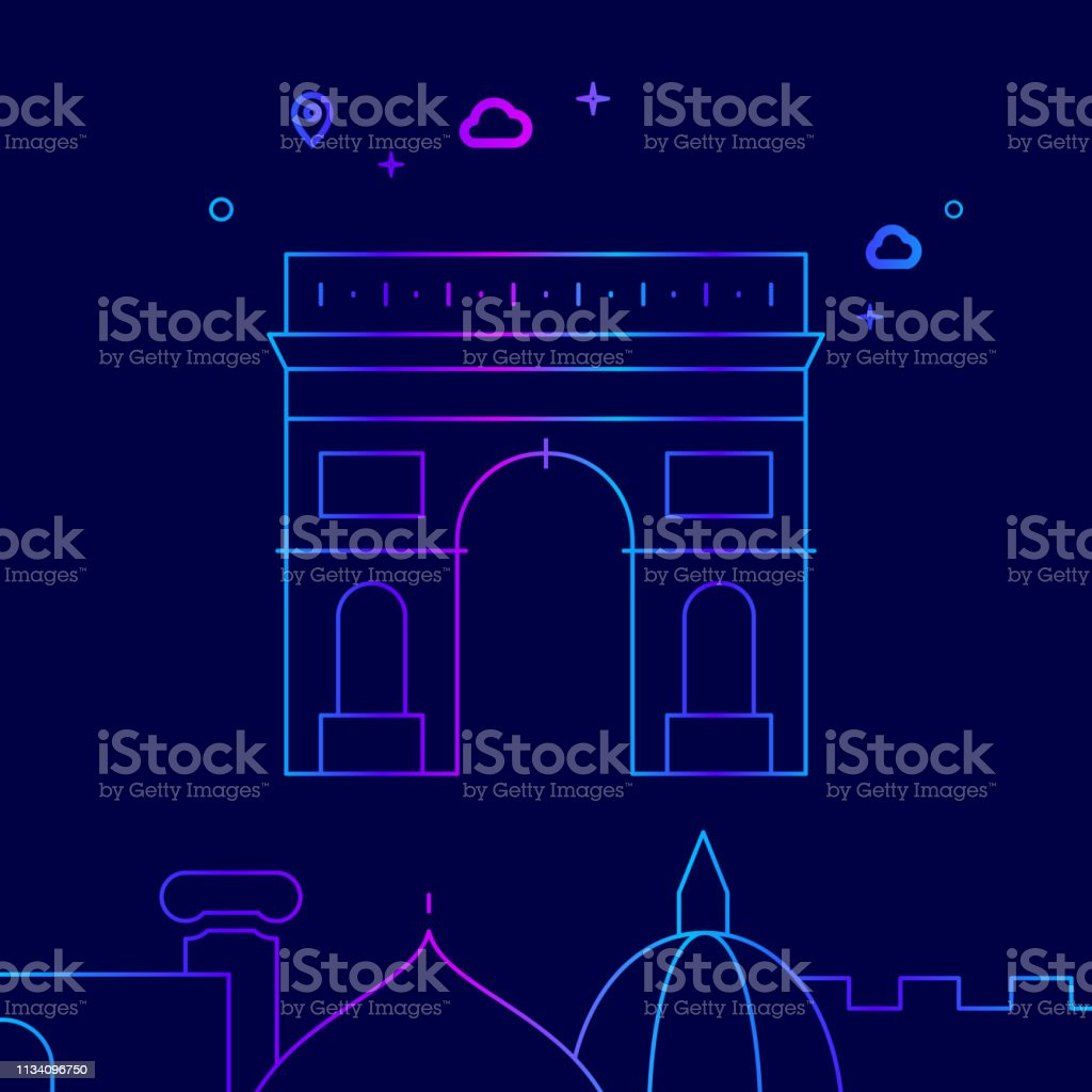 triumphal arch, paris vector line icon, illustration on a dark blue  background  related