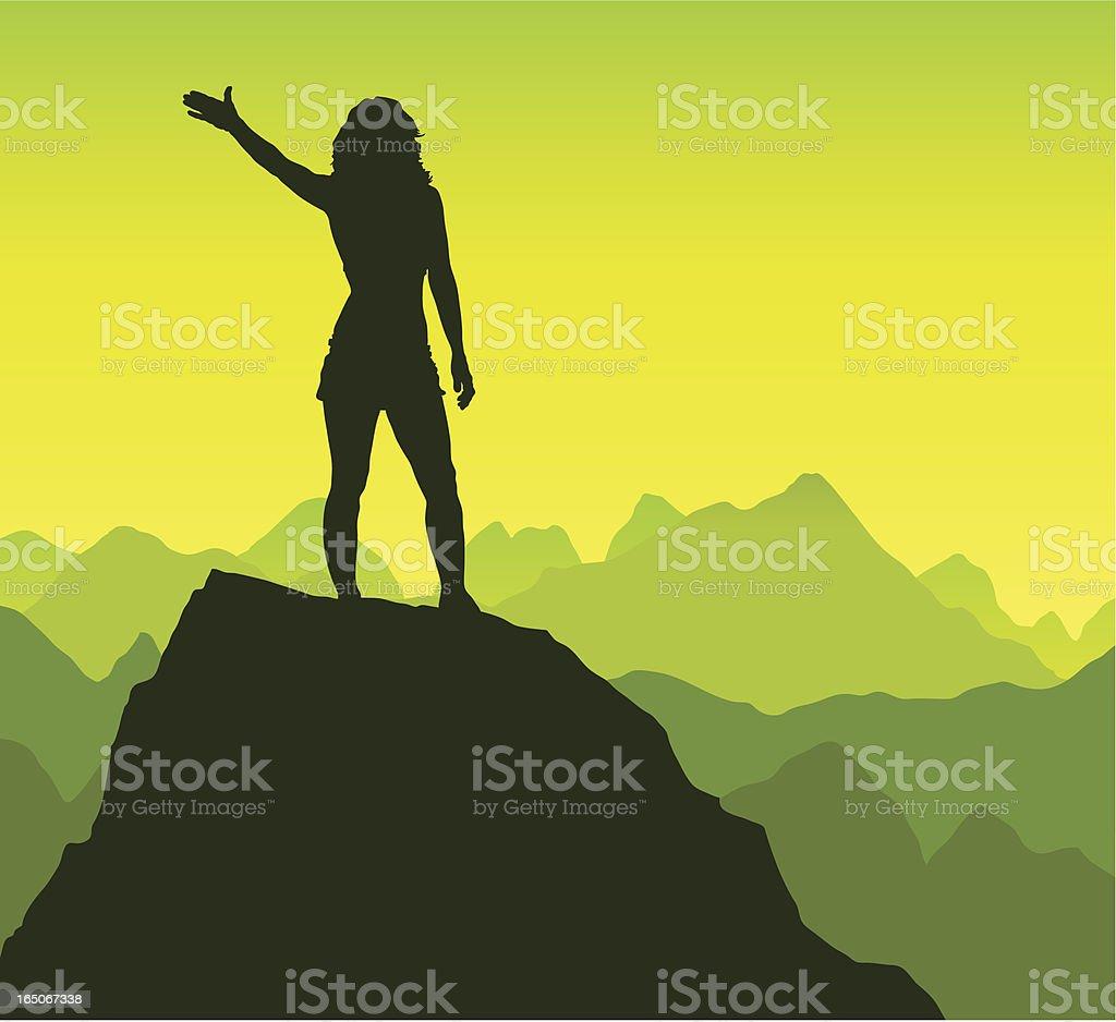 Triumphant female on a rock royalty-free stock vector art