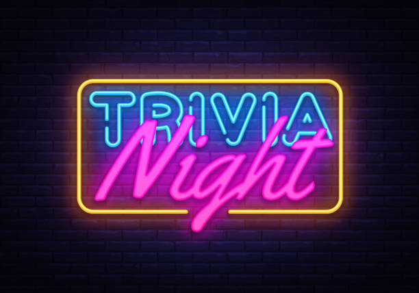 trivia night neon sign vector. quiz time design template neon sign, light banner, neon signboard, nightly bright advertising, light inscription. vector illustration - ночь stock illustrations