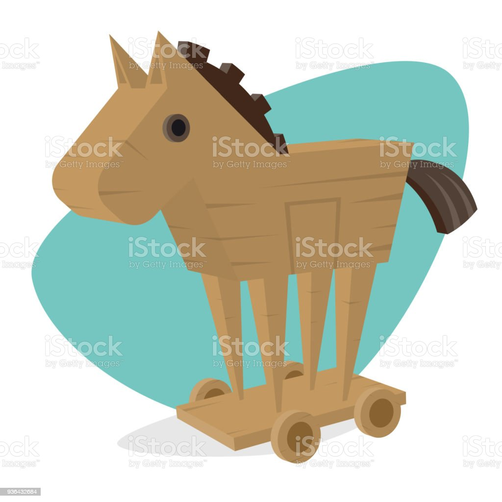 trojan horse clipart vector art illustration