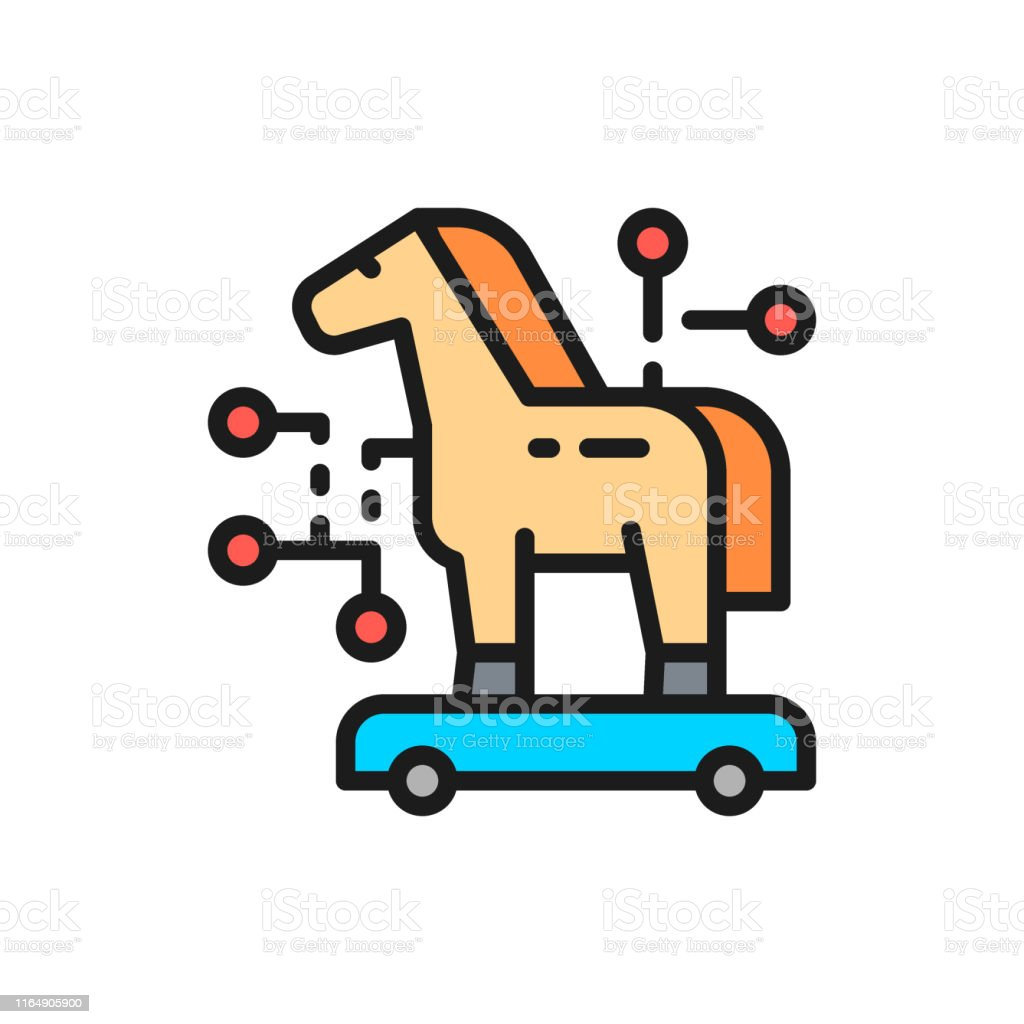 Trojan Horse Cyber Crime Virus Flat Color Line Icon Stock Illustration Download Image Now Istock