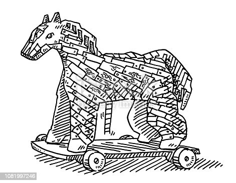 Hand-drawn vector drawing of a Trojan Horse. Black-and-White sketch on a transparent background (.eps-file). Included files are EPS (v10) and Hi-Res JPG.