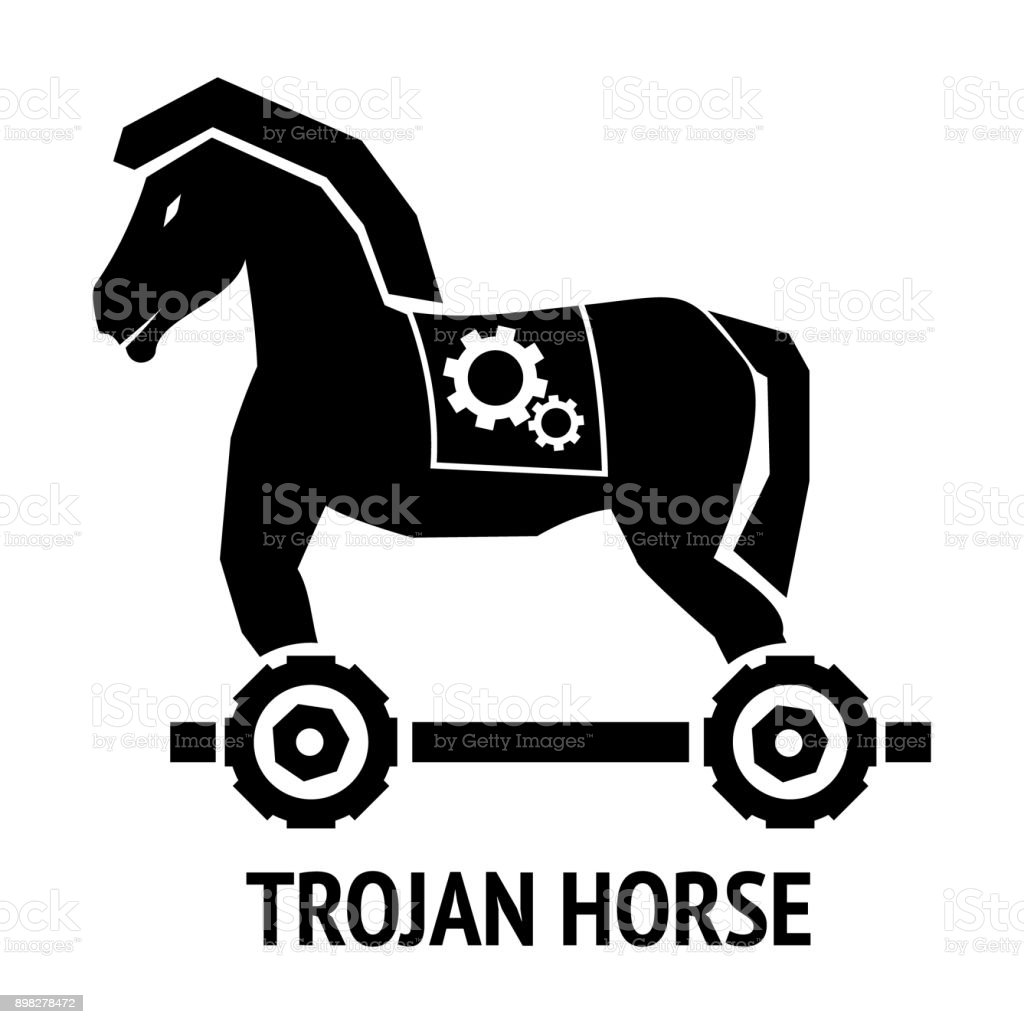 Trojan Horse Malware Virus Computer Sign Isolated On White ...