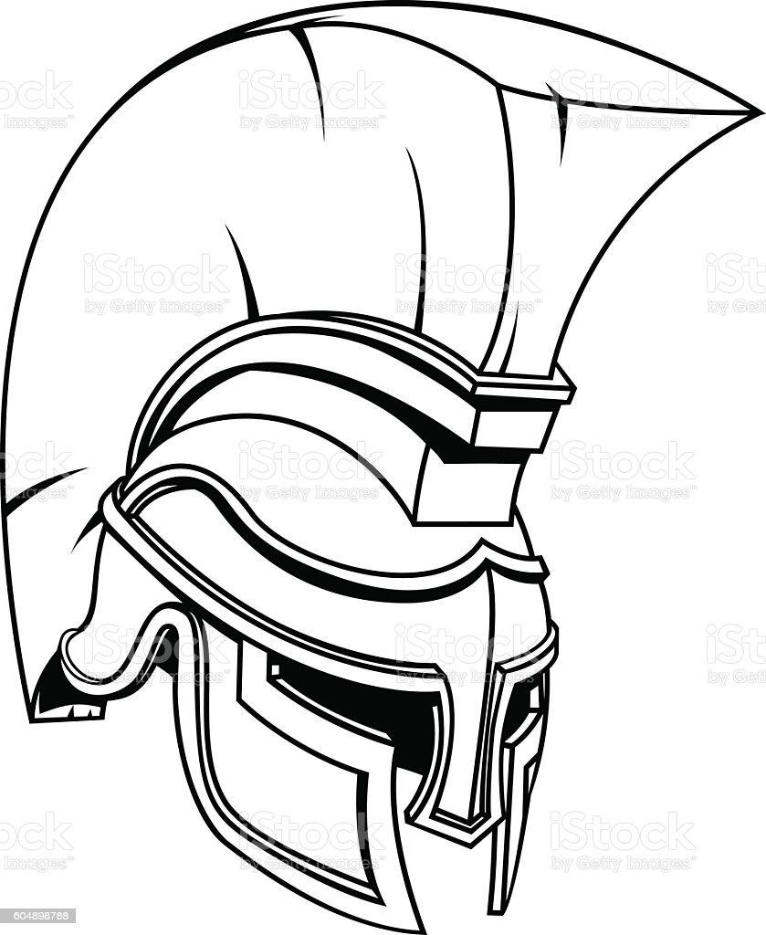 Trojan Or Spartan Gladiator Warrior Helmet Stockowe Grafiki
