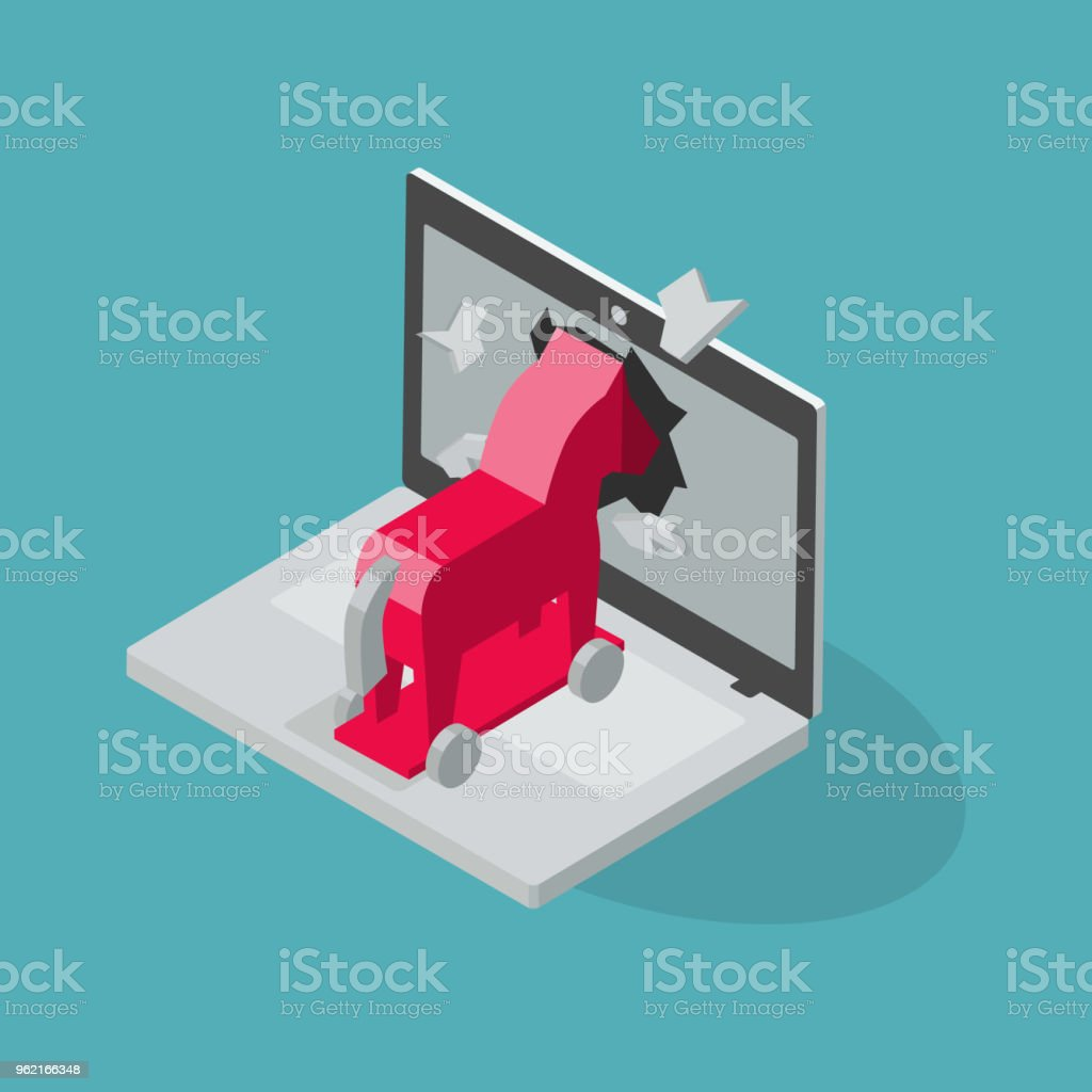 Trojan Virus Vector Symbol With Laptop And Red Trojan Horse Stock Illustration Download Image Now Istock