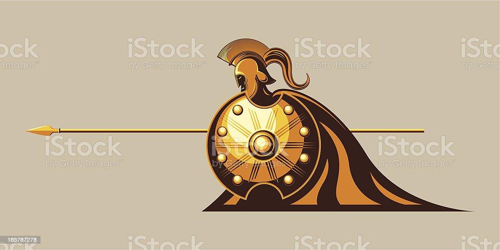 trojan warrior vector art illustration