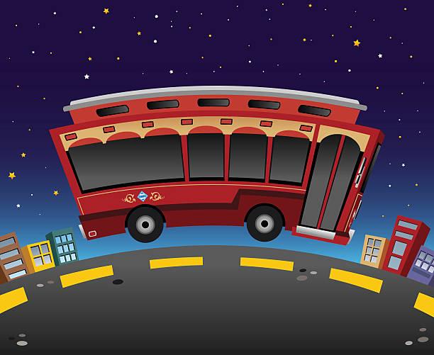Trolley at Night vector art illustration
