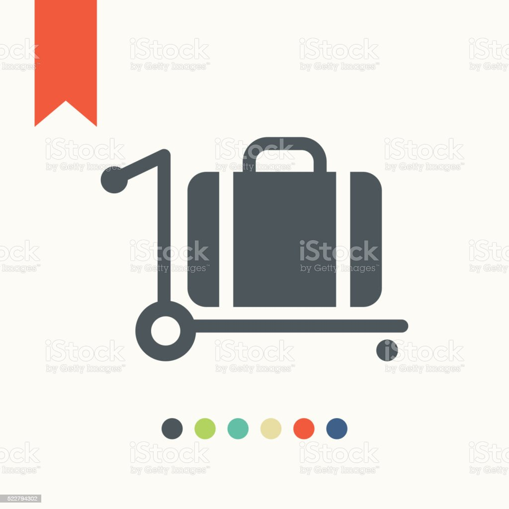 Trolley luggage icon vector art illustration