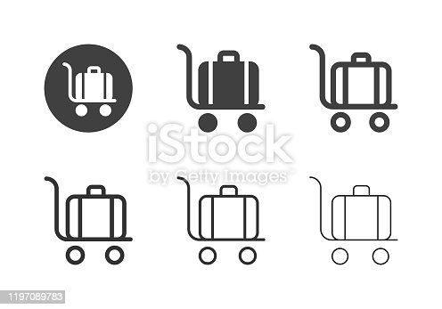 Trolley Luggage Icons Multi Series Vector EPS File.