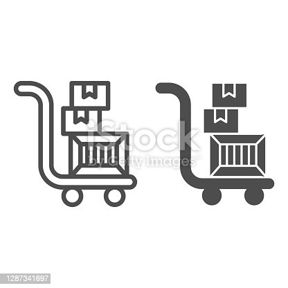istock Trolley with boxes line and solid icon, Black Friday concept, hand truck with three cardboard boxes sign on white background, warehouse trolley icon in outline style for mobile, web. Vector graphics. 1287341697