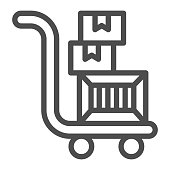 istock Trolley with boxes line icon, Black Friday concept, hand truck with three cardboard boxes sign on white background, warehouse trolley icon in outline style for mobile, web. Vector graphics. 1287343384