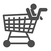 Trolley with child solid icon, shopping concept, children and shopping cart sign on white background, mall shop cart icon in glyph style for mobile concept and web design. Vector graphics