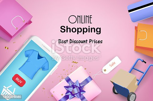 istock Trolley with gift box and smartphone 1320126585
