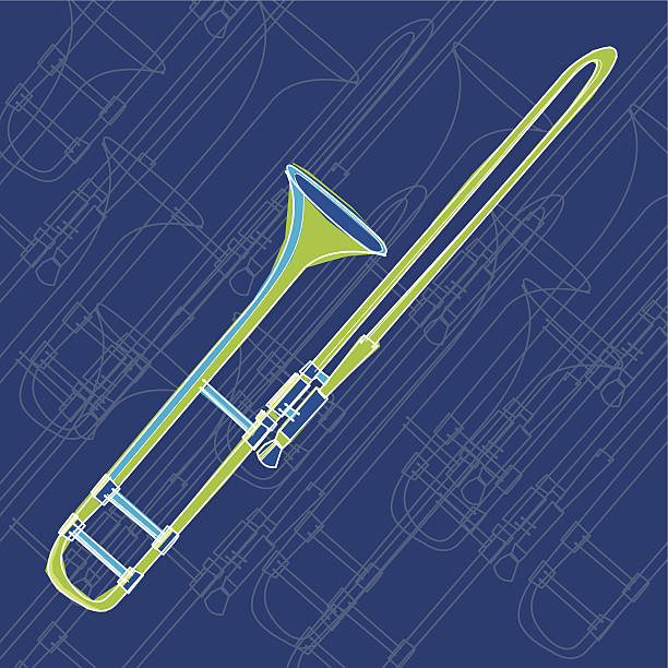 ilustraciones, imágenes clip art, dibujos animados e iconos de stock de trombón - tintanegra00