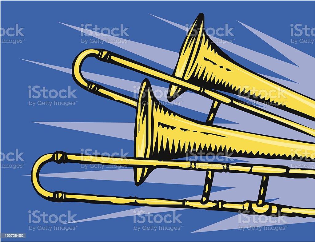 Trombones vector art illustration
