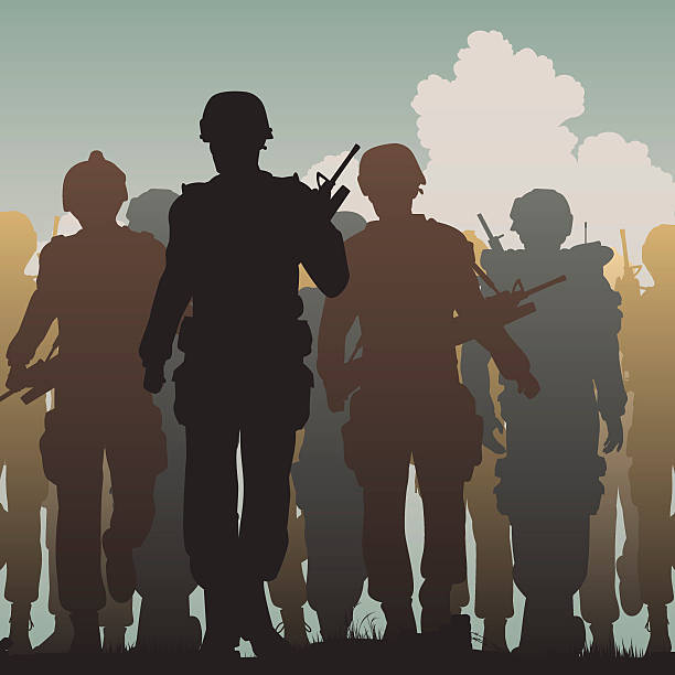 Troops walking vector art illustration