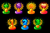 Trophies different colored. 1st, 2nd, 3rd place. Laurel wreath of victory, star, heart and dollar for game, ui, banner, app, interface, slots, game development Vector icons on a separate layer