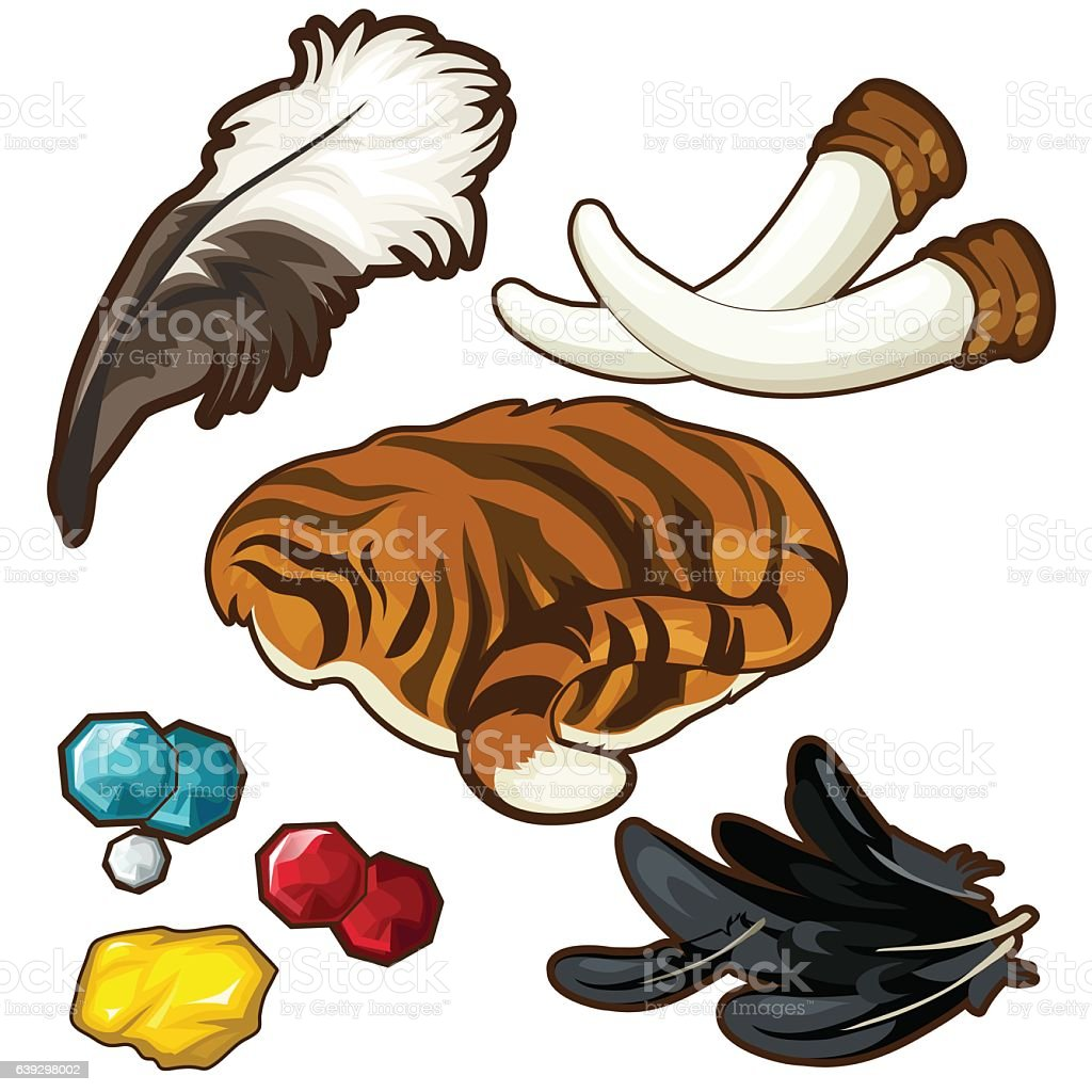 Trophies of hunter and few gems. Vector Trophies of hunter and few gems. Vector set on white background Animal stock vector