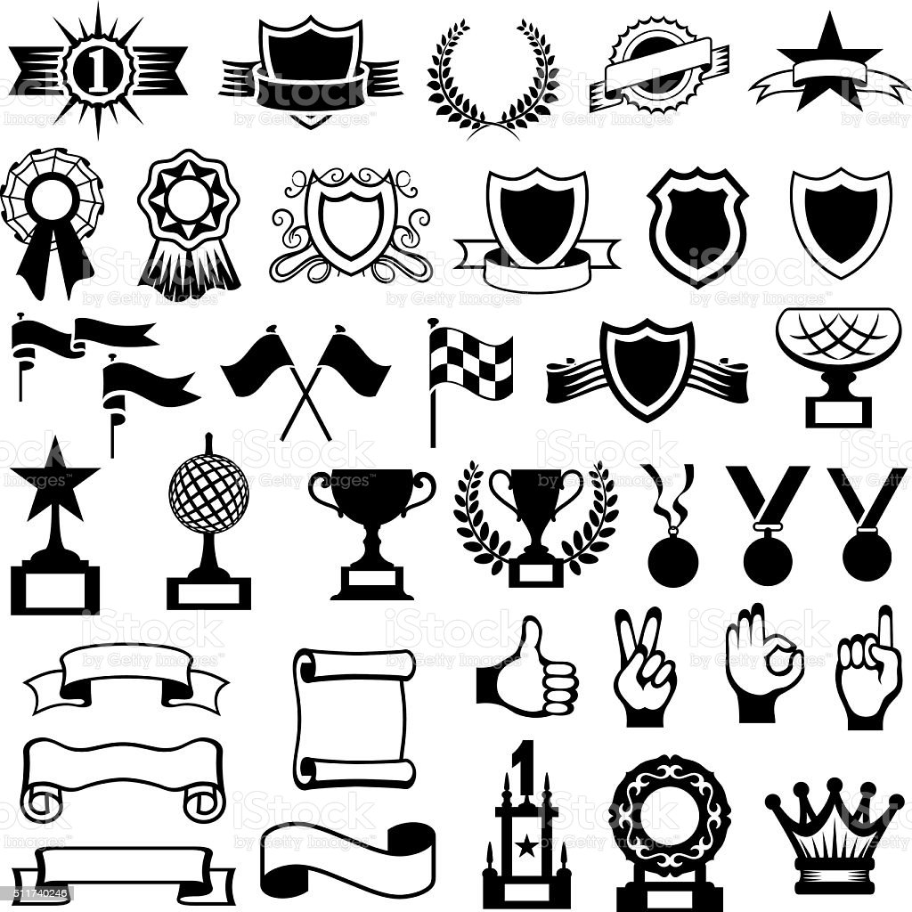 Trophies, Shields and Awards Icons vector art illustration