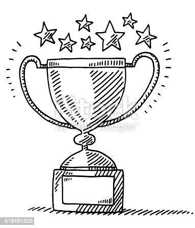 istock Trophy Achievement Stars Drawing 518481305