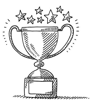 Trophy Achievement Stars Drawing