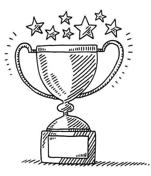 Trophy Achievement Stars Drawing Hand-drawn vector drawing of an Achievement Trophy and Stars. Black-and-White sketch on a transparent background (.eps-file). Included files are EPS (v10) and Hi-Res JPG. sport stock illustrations