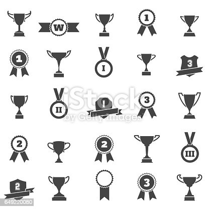 Trophy and award simple black icons. Winner cup and victory prize silhouette vector signs