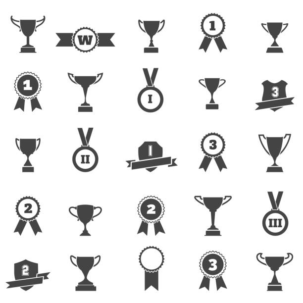 Trophy and award simple black icons Trophy and award simple black icons. Winner cup and victory prize silhouette vector signs ribbon sewing item stock illustrations