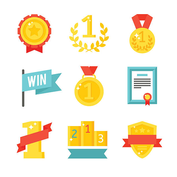 Trophy and awards icons set flat vector illustration vector art illustration