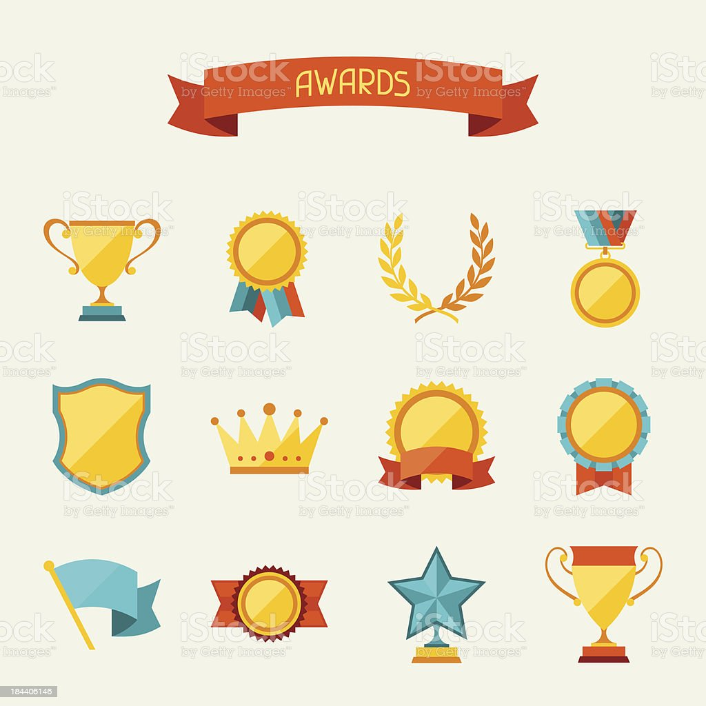 Trophy and awards icons set. vector art illustration