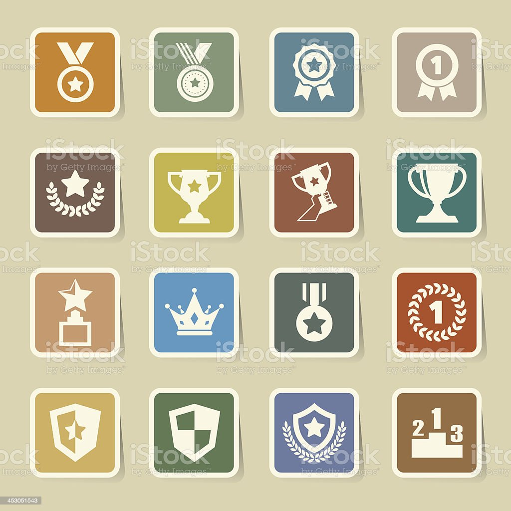 Trophy and awards icons set royalty-free stock vector art