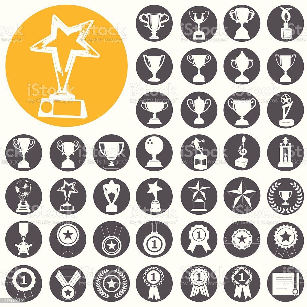 trophy und Auszeichnungen icons set.  Vektor-Illustration eps10 – Vektorgrafik