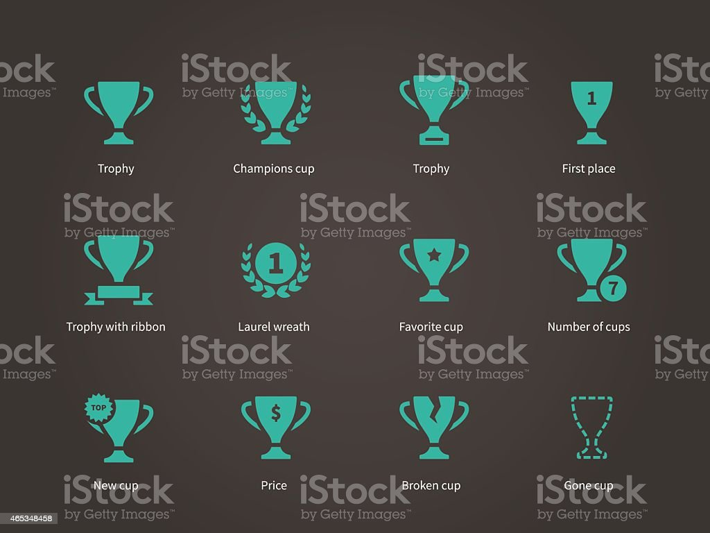 Trophy and awards icons vector art illustration