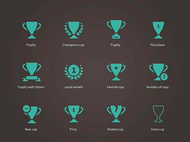 stockillustraties, clipart, cartoons en iconen met trophy and awards icons - sportkampioenschap