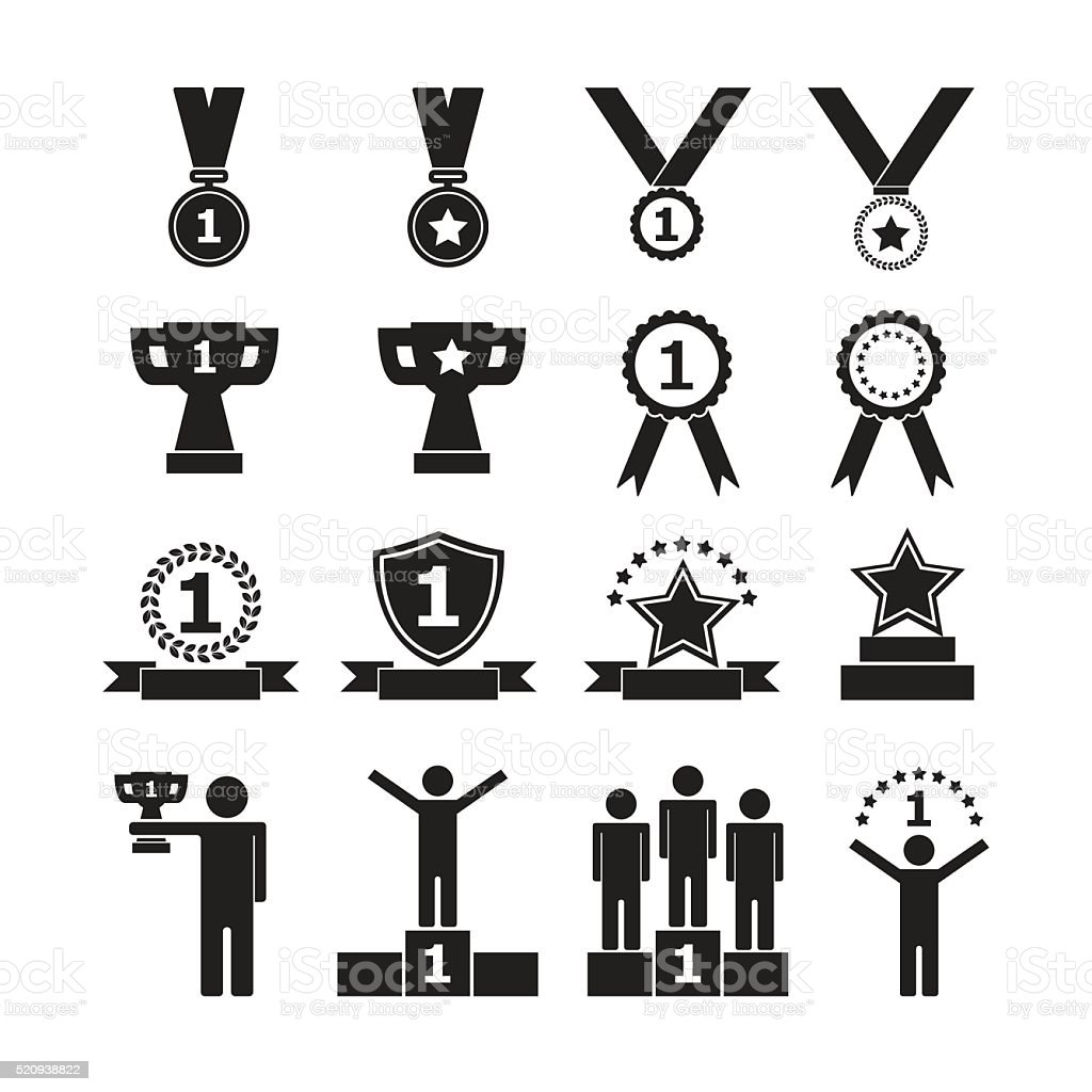 Trophy and awards icons, vector set vector art illustration