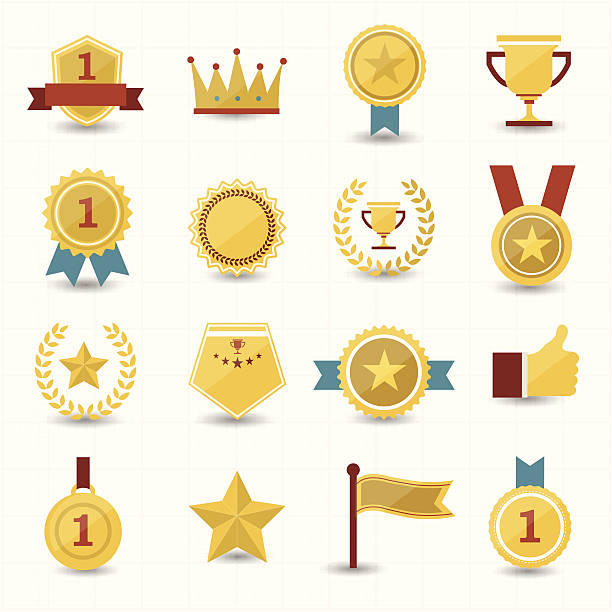 trophy und preis symbole mit weißem hintergrund - belohnungstafel stock-grafiken, -clipart, -cartoons und -symbole