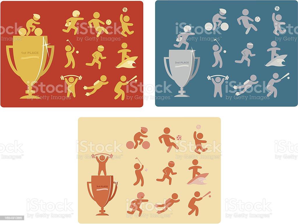 trophy athletes vector art illustration