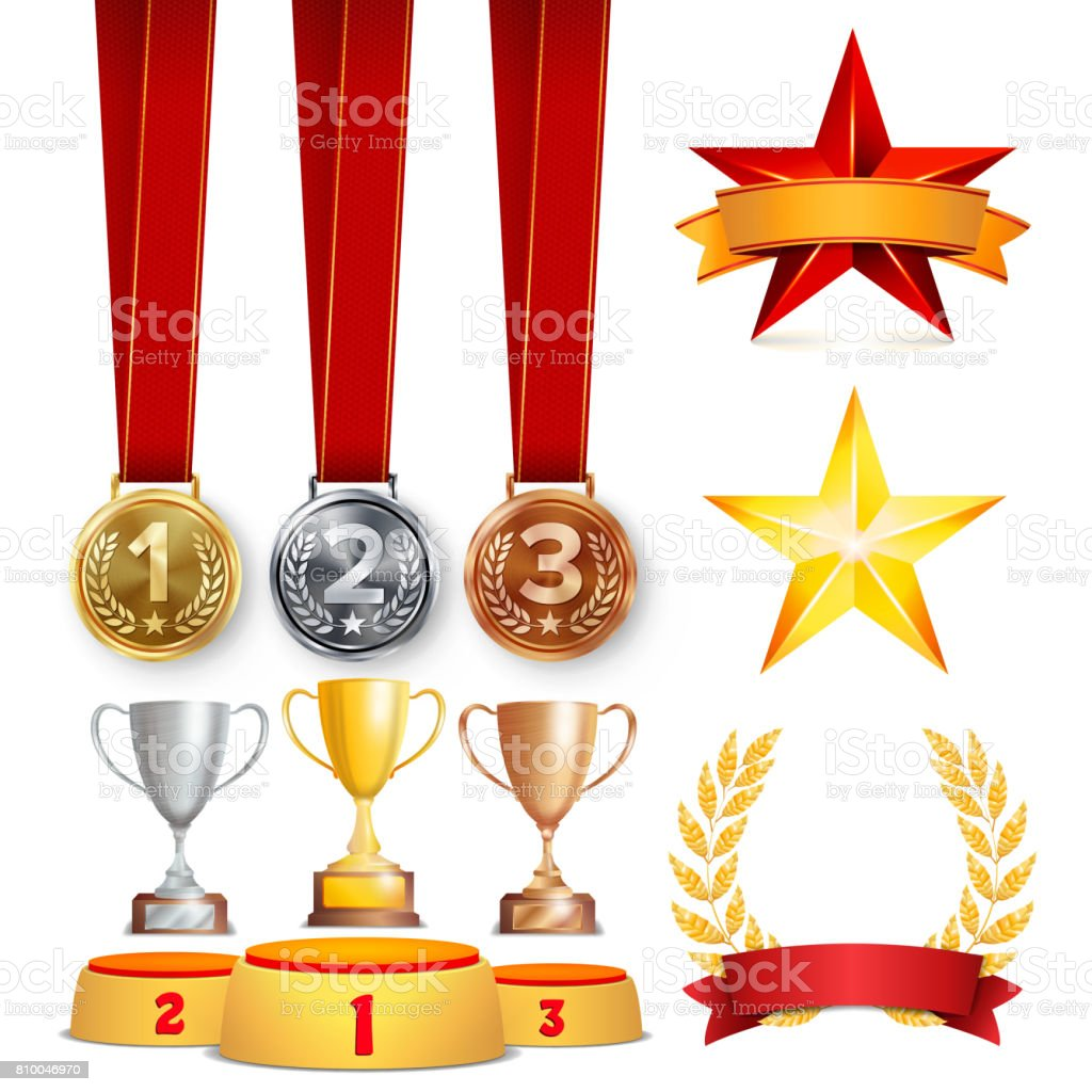 Trophy Awards Cups, Golden Laurel Wreath With Red Ribbon And Gold Shield. Realistic Golden, Silver, Bronze Achievement Medals. Sports Placement Podium. Isolated Vector Illustration vector art illustration