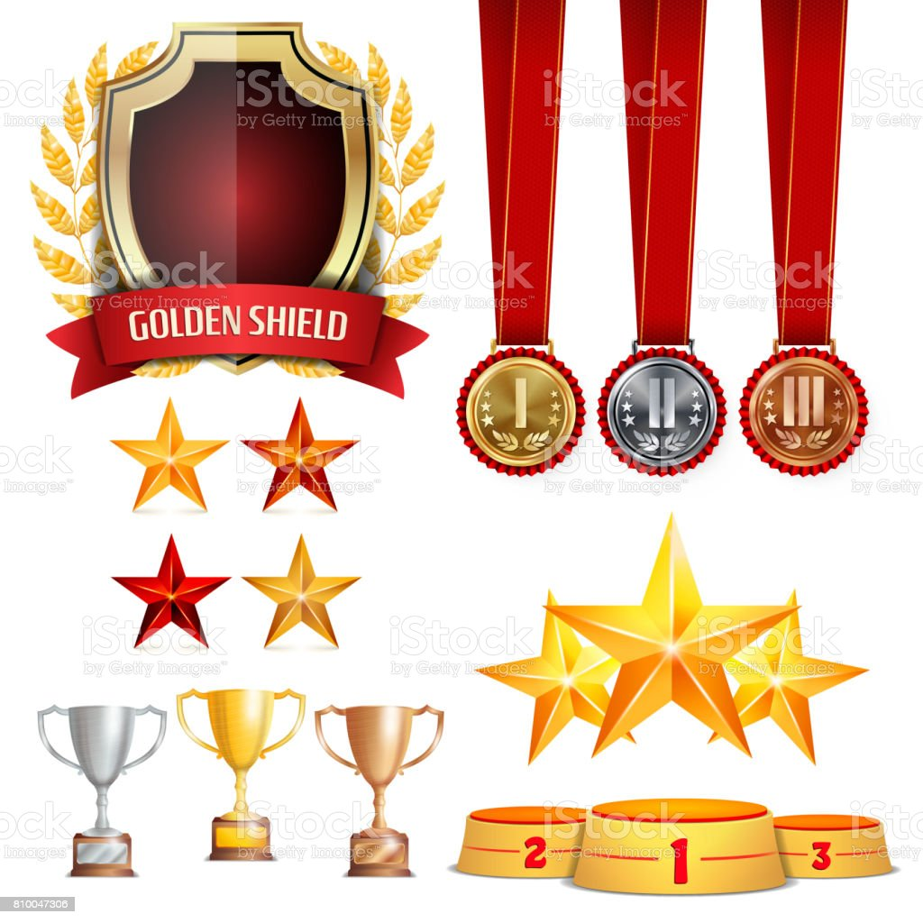 Trophy Awards Cups, Golden Laurel Wreath With Red Ribbon. Realistic Golden, Silver, Bronze Achievement Medals. Sports Placement Podium. Isolated Vector Illustration vector art illustration
