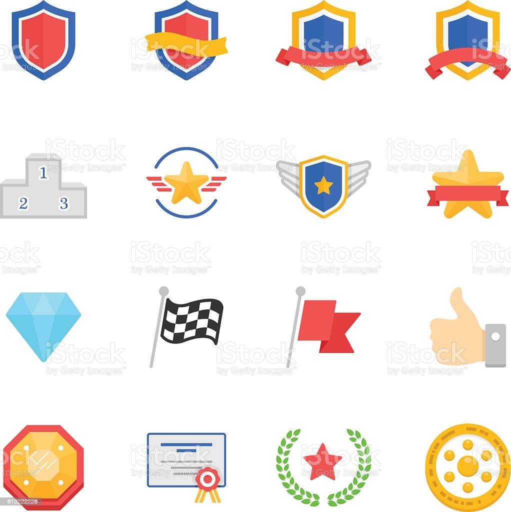 trophy awards vector color icons set アイコンのベクターアート素材