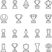 Trophy awards vector outline stroke icon set
