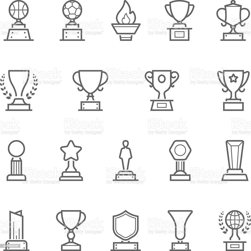 Trophy awards vector outline stroke icon set vector art illustration