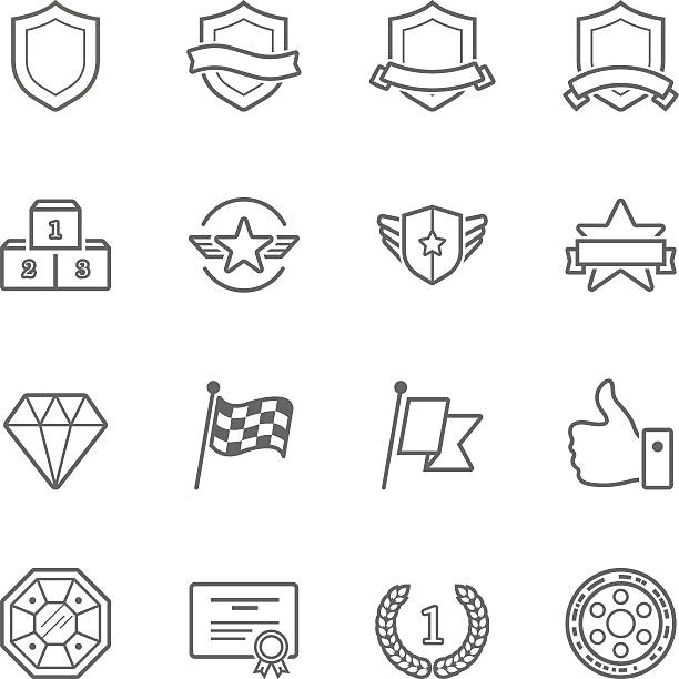 trophy awards vector outline stroke icon set - 세로 구도 stock illustrations