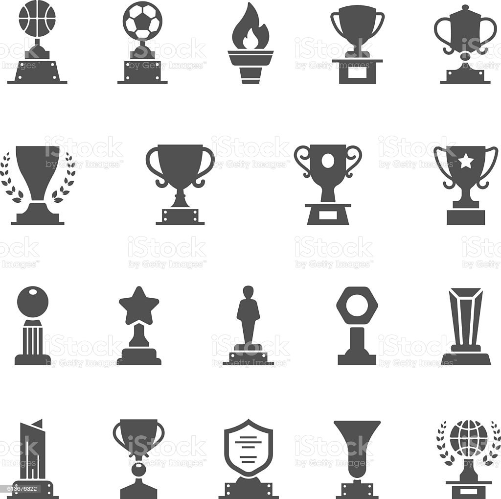 Trophy Awards vector solid icons set vector art illustration