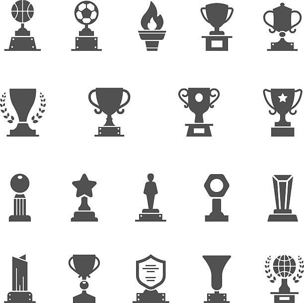 Trophy Awards vector solid icons set vector art illustration