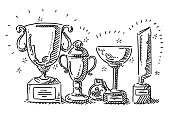 Trophy Collection Success Concept Drawing