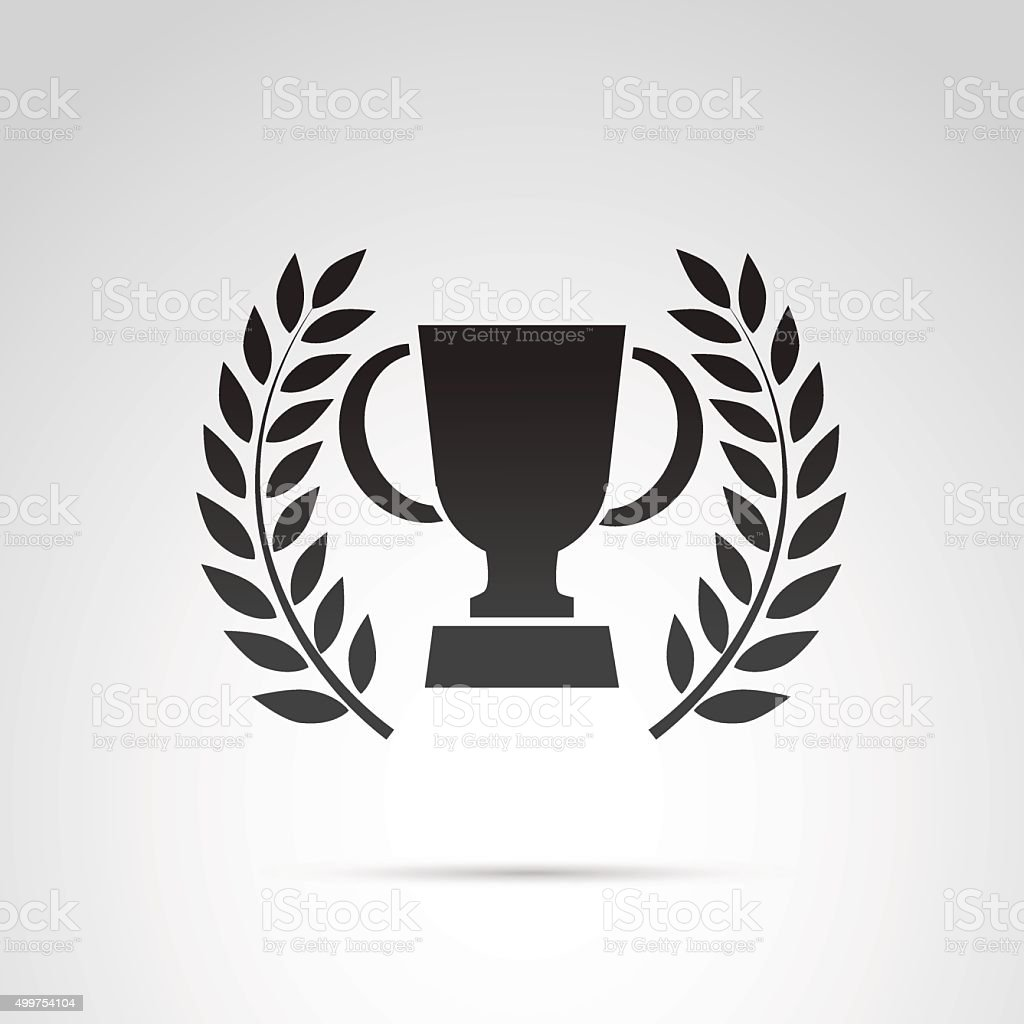 Trophy cup and laurel icon isolated on white background. vector art illustration