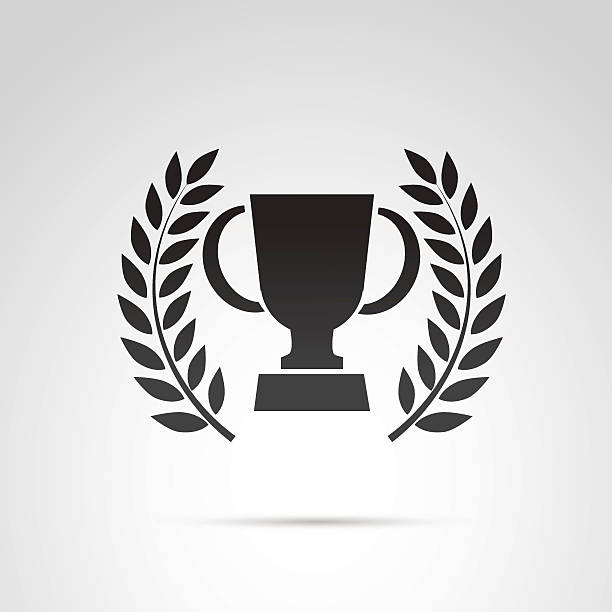 Trophy cup and laurel icon isolated on white background. Vector illustration - icon with ancient cup and laurel. bay tree stock illustrations